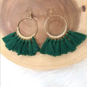 Green Boho Style Big Circle Drop Tassel Earrings